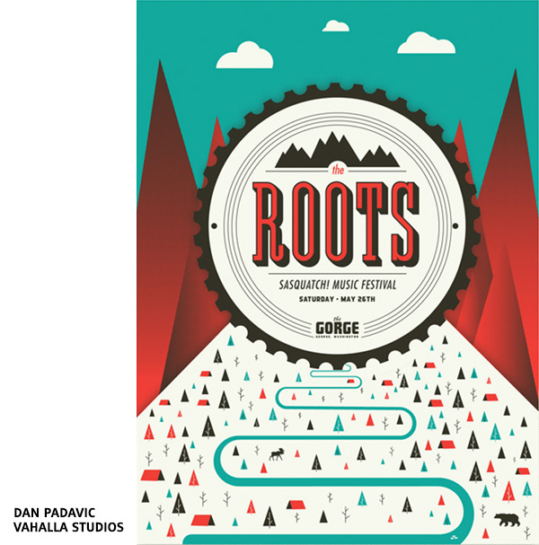 Affiche de festival The Roots at Sasquatch par Dan Padavic - Vahalla Studios