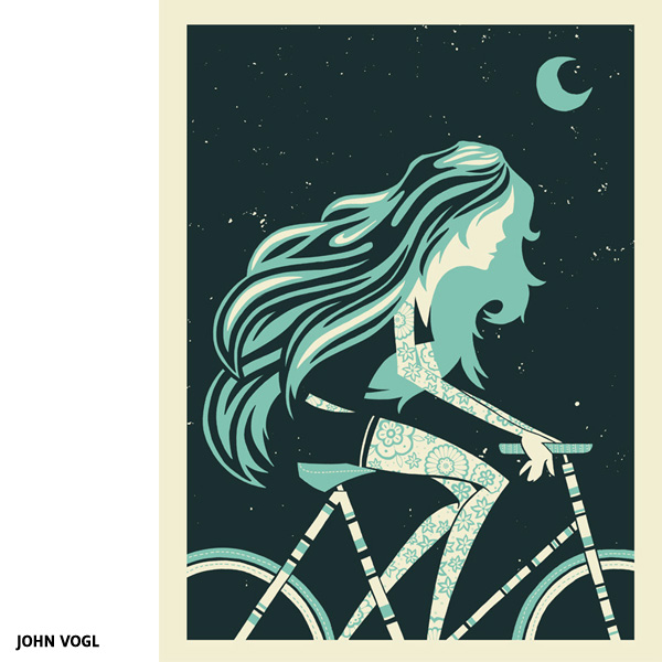 Night ride Bike art par John Vogl (The Bungaloo)