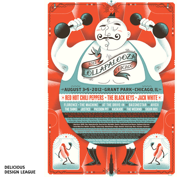 Affiche de festival Lollapalooza par Delicious Design League