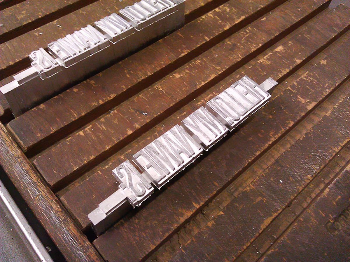 ligne de plomb obtenue sur la Ludlow Typograph & Co
