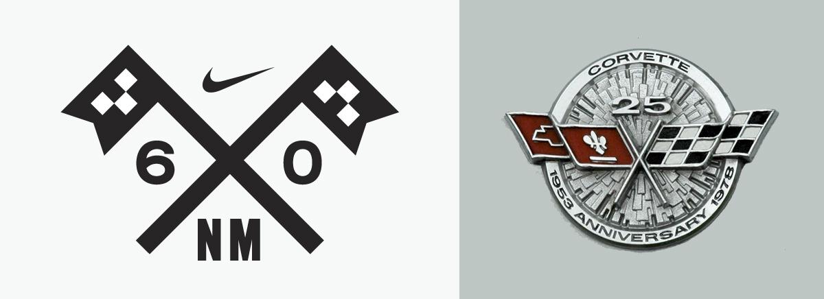 2 drapeaux à damier croisés sont symboliques des sports mécaniques. Créé par Allan Peters pour Nike motocross. A droite logo Corvette de 1972.