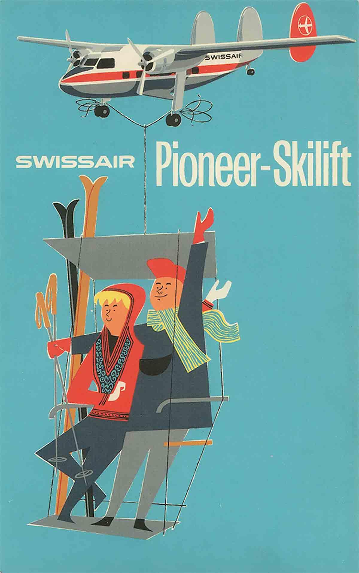 Swissair imprimée en sérigraphie 1950 par Serico