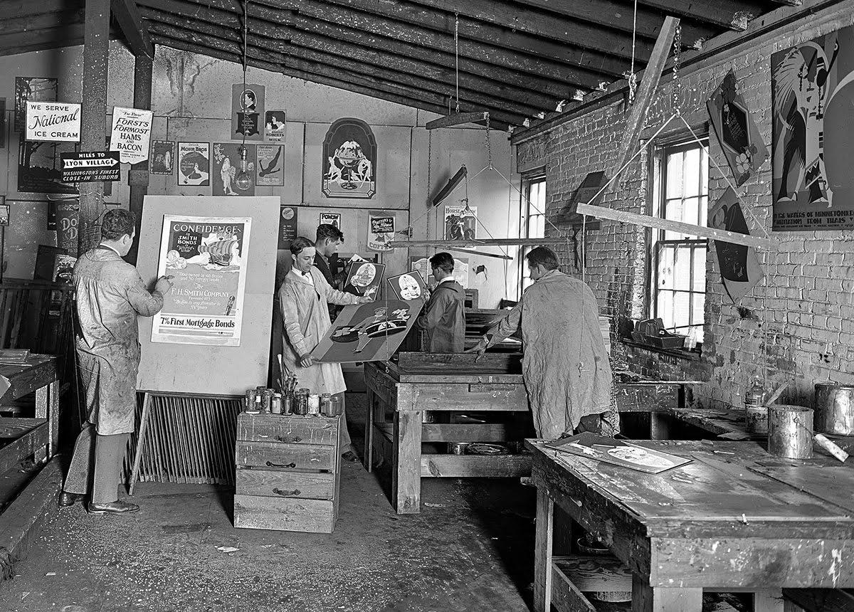 Atelier de sérigraphie en 1926 Walling Process Inc.