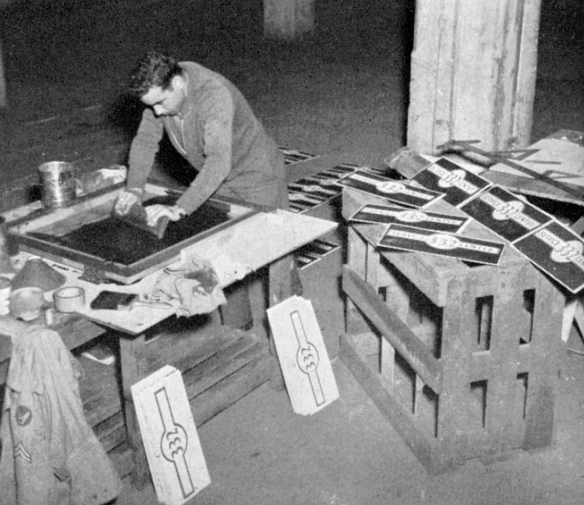 Sérigraphie en 1945 - base de l'US Army dans le sud de la France