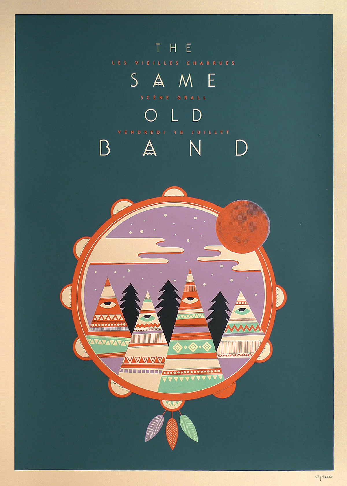 Sérigraphie groupe The Same Old Band par Laurent Duvoux - We Are Ted
