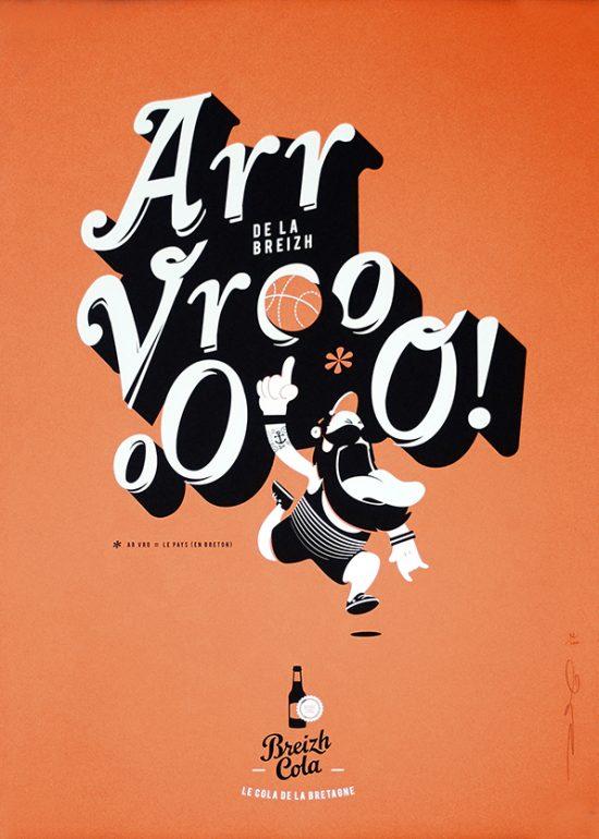 Affiche Bretagne sérigraphie d'art Breizh Cola vintage en édition limitée