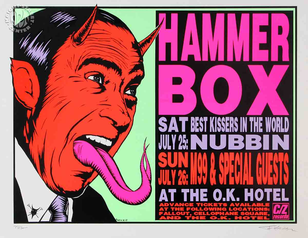 Hammerbox at the O.K. Hotel (Seattle), sérigraphie de 1992 par Frank Kozik.