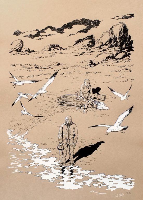Affiche Bretagne sérigraphie BD Erwan Le Saëc édition limitée