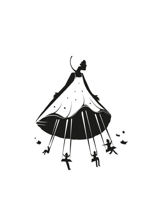 Sérigraphie Robe de papiers - illustration par Zig
