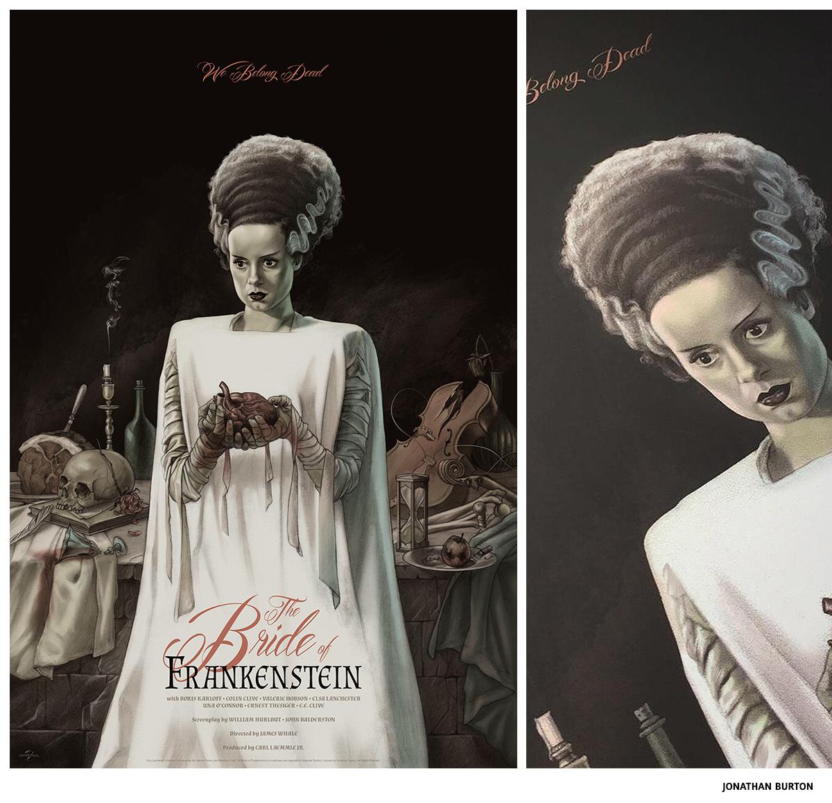 The Bride of Frankenstein par Jonathan Burton sérigraphie affiche