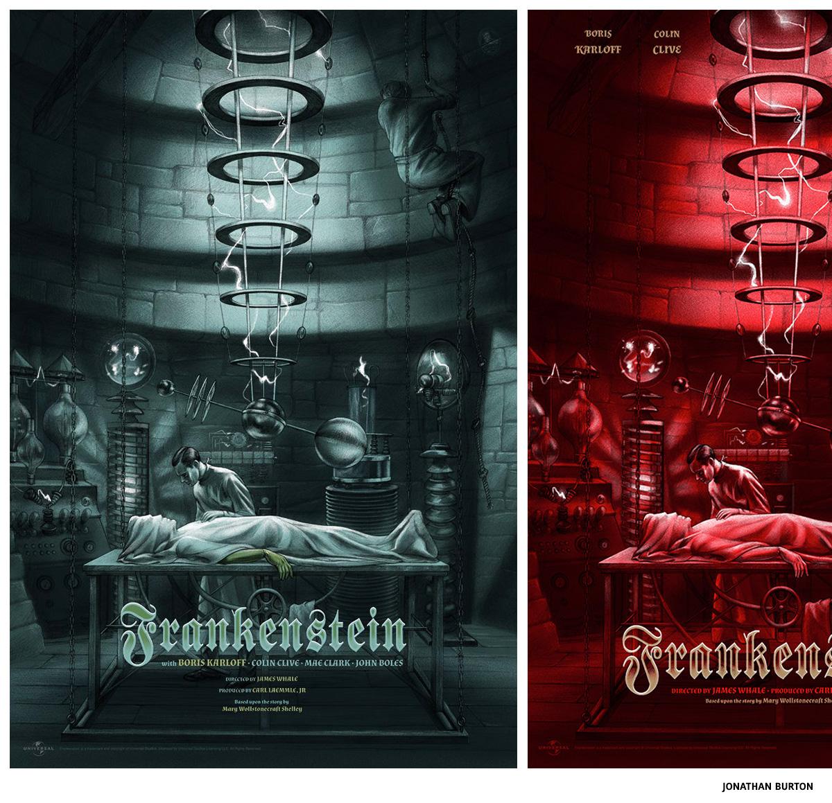 Jonathan Burton Frankenstein sérigraphie affiche