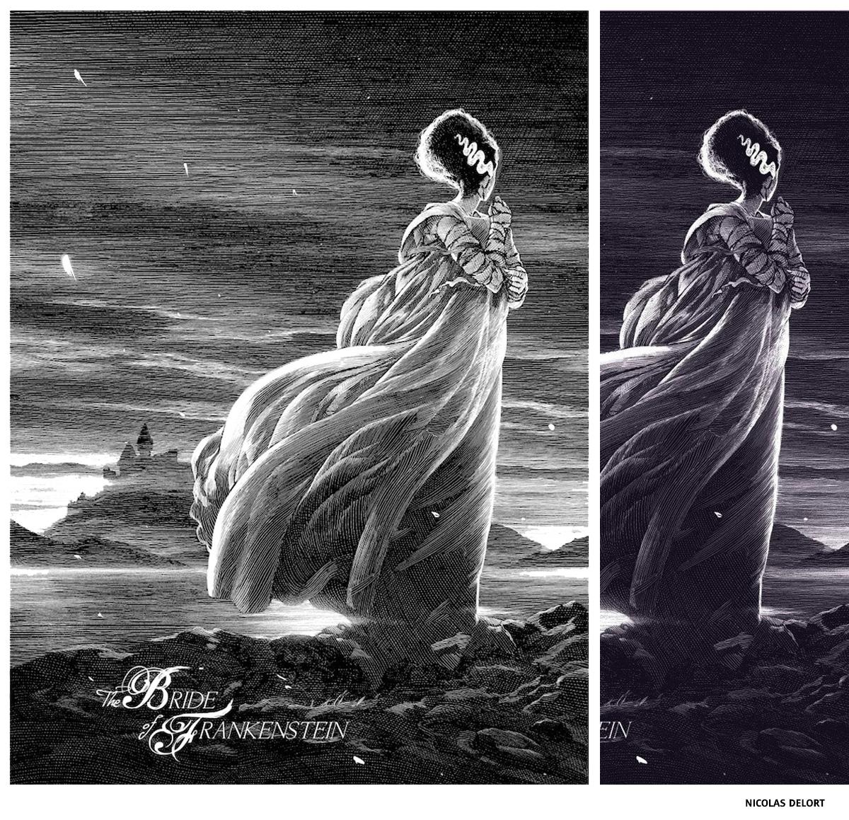Bride of Frankenstein par Nicolas Delort sérigraphie affiche