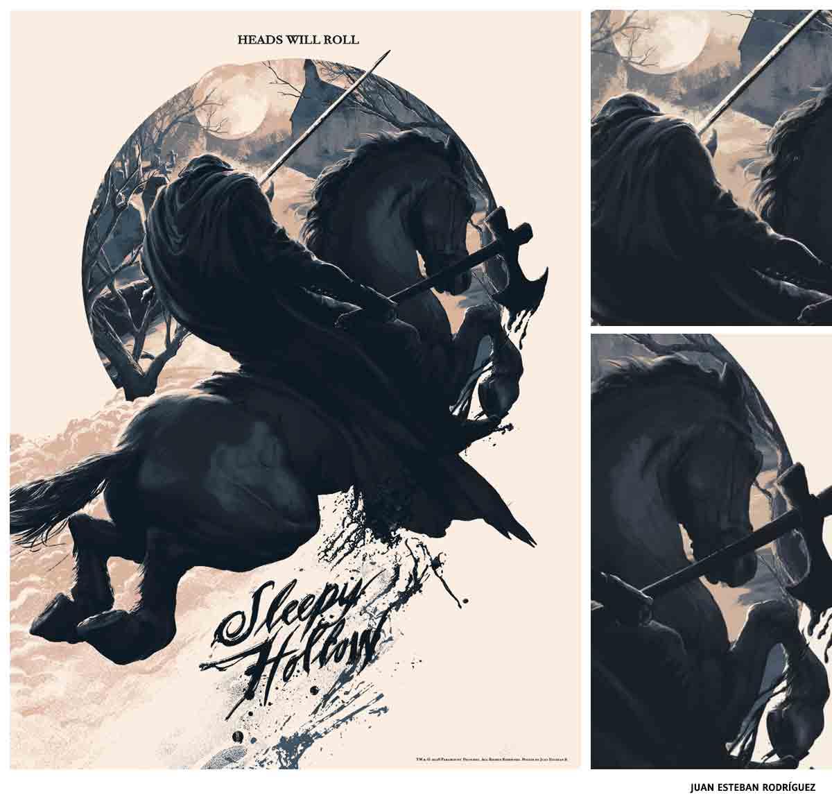 Juan Esteban Rodríguez Sleepy Hollow affiche sérigraphie