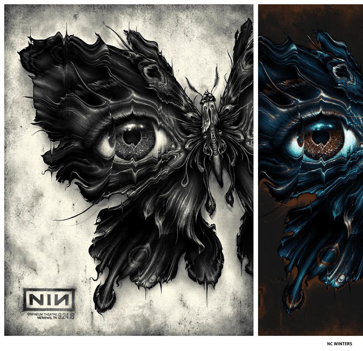 Nine Inch Nails par NC Winters affiche sérigraphie