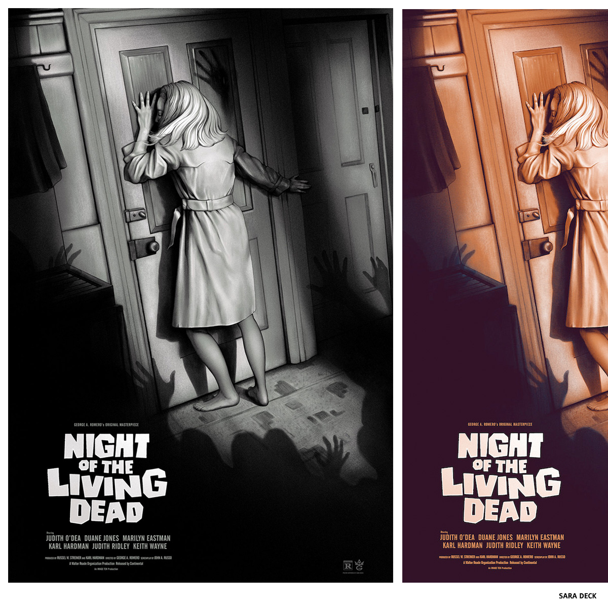 Affiche sérigraphie Night Of The Living Dead par Sara Deck