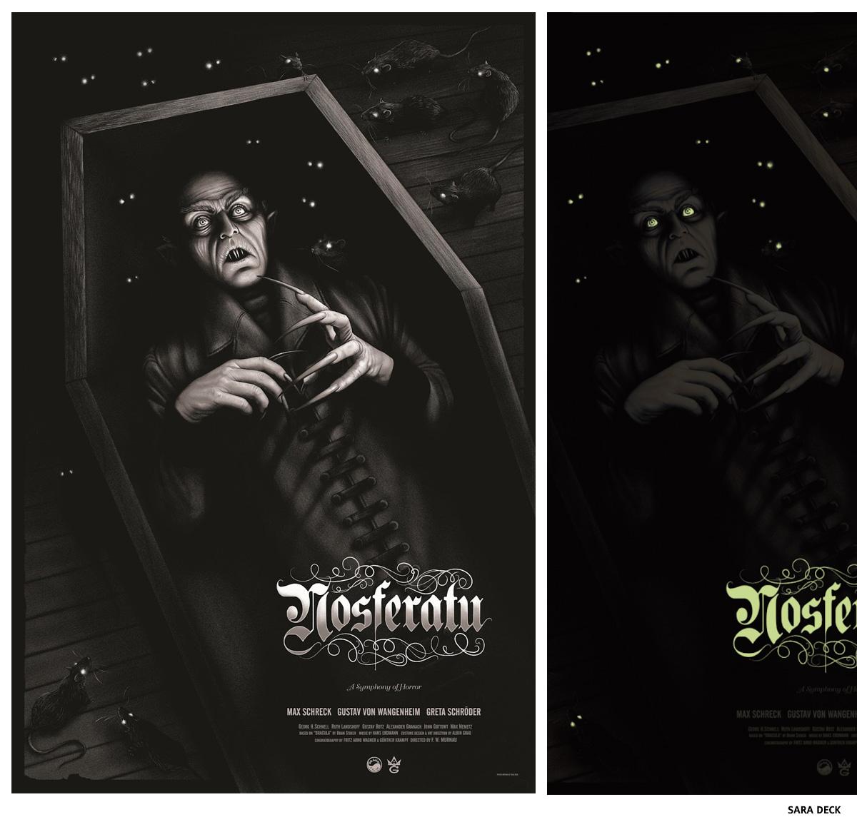 Nosferatu par Sara Deck affiche sérigraphie