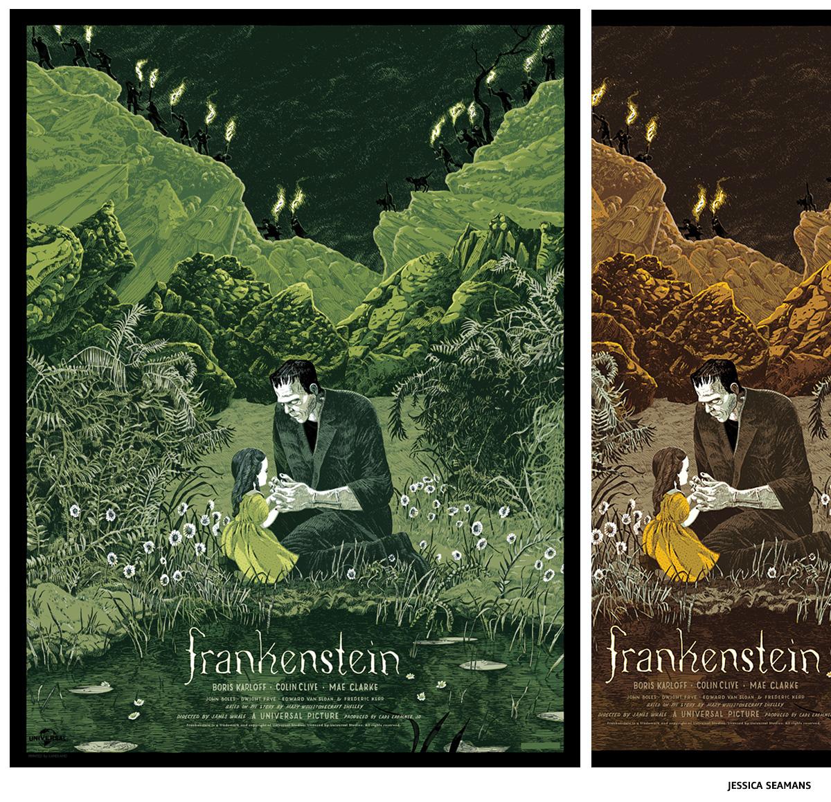 Frankenstein by Jessica Seamans sérigraphie affiche