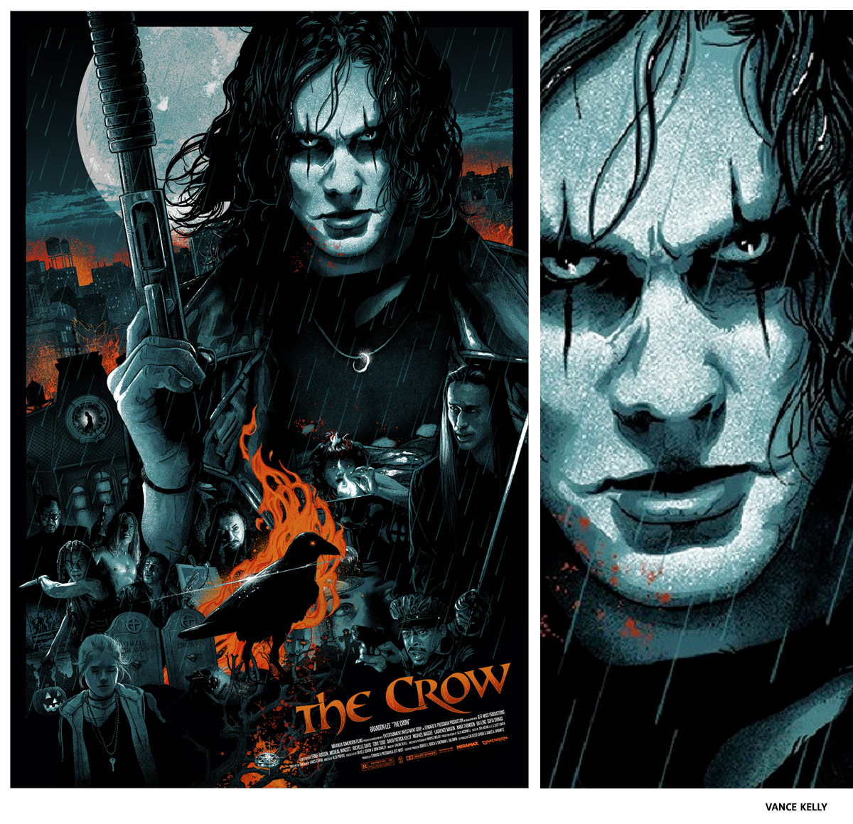 The Crow par Vance Kelly sérigraphie affiche