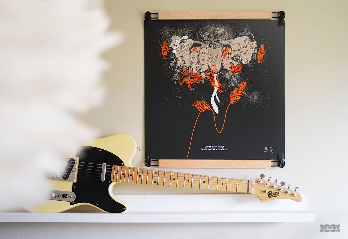 Sérigraphie affiche hommage à Bowie par Julien Hugonnard-Bert imprimé dans l'atelier Dezzig