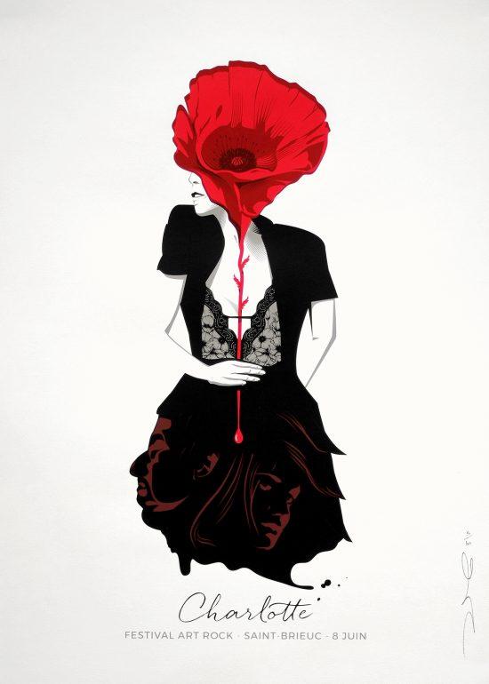 affiche Sérigraphie Charlotte Gainsbourg en éditioin limitée d'art graphique